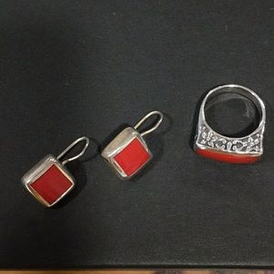 Silver and red stone set